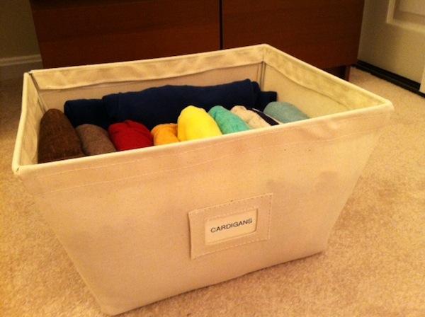 organize cardigans for women & men in open canvas storage bins