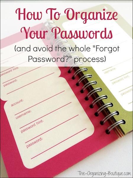 organize passwords