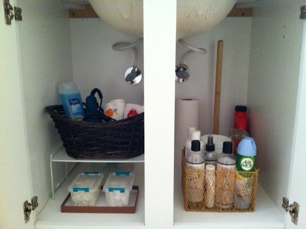 guest bathroom storage solutions - after