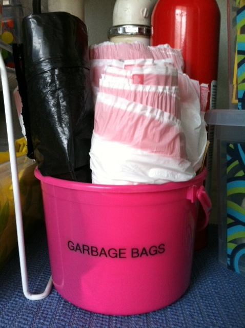 under sink storage - garbage bags