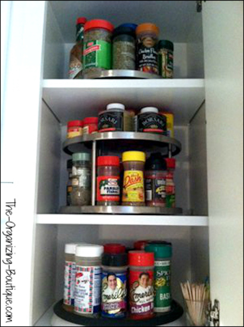How To Organize Your Spices Using Turntables | The-Organizing-Boutique.com